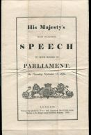 SPEECH MADE BY KING WILLIAM IV TO BOTH HOUSES OF PARLIAMENT SEPTEMBER 1835 - Other Collections