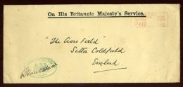 KING GEORGE Vth OHMS ENVELOPE FOREIGN OFFICE 1933 - Other Collections