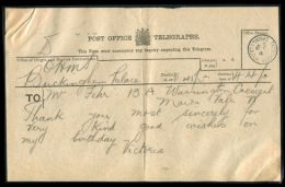 HRH PRINCESS VICTORIA TELEGRAM BUCKINGHAM PALACE 1919 - Other Collections