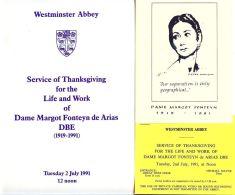 SERVICE OF THANKSGIVING WESTMINSTER ABBEY BALLERINA DAME MARGOT FONTEYN 1991 - Old Paper