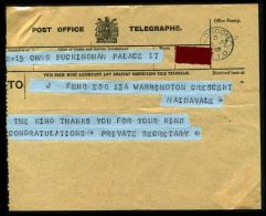 ROYAL TELEGRAM KING GEORGE 5TH 1919 BUCKINGHAM PALACE - Other Collections