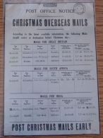 KENYA POST OFFICE NOTICE CHRISTMAS MAILS SHIPPING KISUMU P.O. 1932 - Old Paper