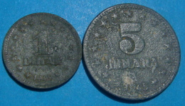 RARE YUGOSLAVIA 1 AND 5 DINARA 1945 - Joegoslavië