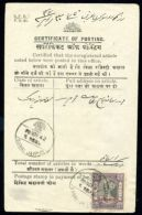 INDIA JAIPUR OFFICIAL CERTIFICATE OF POSTING - India (...-1947)