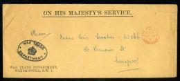 KING GEORGE Vth OHMS ENVELOPE WAR TRADE DEPARTMENT WW1 - Unclassified