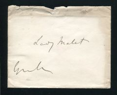 FINE ORIGINAL AUTOGRAPHED ENVELOPE 2ND EARL GRANVILLE FOREIGN MINISTER MALET 2 - Other Collections