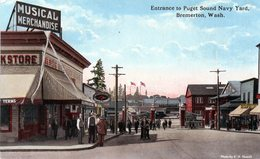 Cpa (u.s.a. )entrance To Puget Sound Navy Yard. Bremeiton Wash - Stati Uniti