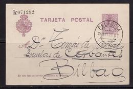 España 1923. Alfonso XIII. Tarjeta De Palencia A Bilbao. Ed 50. - Briefe U. Dokumente