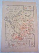 Carte Des Stations Médicales Thermales En France Larousse Médical Illustré 1929 - Cartes Géographiques
