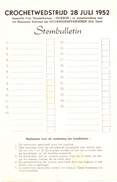 Crochetwedstrijd 28 Juli 1952 - Blanco Stembulletin - Vieux Papiers