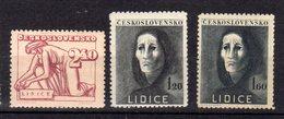 1948 Lidice Y  446 - 448 ** - Unused Stamps