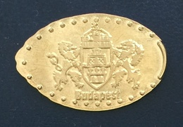 Hungary, Jeton Made Of 5 F. Coin, Coat Of Arms, Budapest - Elongated Coins