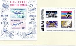 BELGIQUE Et SUISSE / 2 Blocs Vignettes De L'Espace Non Dentelées Neufs MNH Vente 6.00 Euros