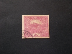 Cecoslovacchia Tschechoslowakei Czechoslovakia 1918 CASTELLO DI PRAGA 30 LILAS V TYPE MUCH RARE IMPERFORETED