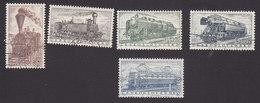 Czechoslovakia, Scott #770-772, 774-775, Used, Trains, Issued 1956