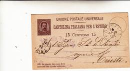 Molinella Per Trieste. Cartolina Intero Postale Per L'Estero Da 15 Centesimi. 1896 - 1878-00 Umberto I