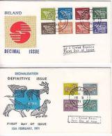 Ireland: Decimalisation Definitive Issue: 4 FDCs, 15 Feb 1971 (3) & 29 Jan 1974 - Ireland