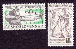 Czechoslovakia, Scott #798-799, Used, Archer, Boxers, Issued 1957