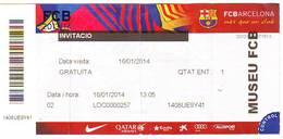 Ticket Entrada - MUSEU MUSEE MUSEUM FCB FOOTBALL CLUB BARCELONA -  2014 - Tickets - Entradas