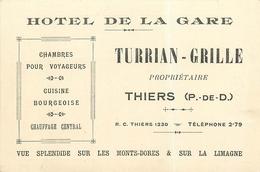 """THIERS - HÔTEL DE LA GARE """"TURRIAN - GRILLE""""  - CARTE COMMERCIALE ANCIENNE (8 X12 Cm). - Thiers"""