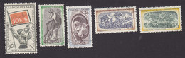 Czechoslovakia, Scott #811, 818-821, Used, Pioneer And Philatelic Symbols, Flora And Fauna, Issued 1957