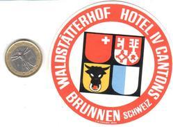 ETIQUETA DE HOTEL  WALDSTATTERHOF HOTEL IV CANTONS  -BRUNNEN  -SUIZA  (SUISSE)  (CON CHARNELA) - Hotel Labels