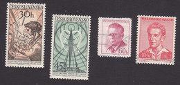Czechoslovakia, Scott #868-869, 871, 873, Used, Telephone Operator, Radio Tower, Novotny, Fucik, Issued 1958