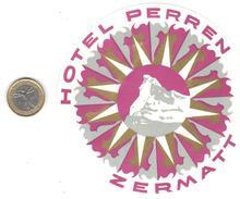 ETIQUETA DE HOTEL  HOTEL PERREN  -ZERMATT -SUIZA  (SUISSE)  (CON CHARNELA) - Hotel Labels
