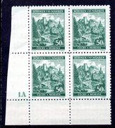 XP3044 - BOEMIA MORAVIA 1940 , Yv N. 47 Quartina  ***  JINDRICHUV - Bohême & Moravie