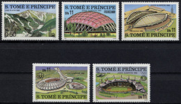 Sao Tome E Principe, 1980, Olympic Summer Games Moscow, Stadiums, MNH Perforated, Michel 632-636A - Sao Tome Et Principe
