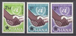 Ghana 1958 Mi.nr: 36-38 Tag Der Vereinten Nationen  Neuf Sans Charniere /MNH / Postfris - Ghana (1957-...)