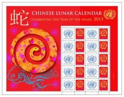 UN New York, Personalized Sheet, 2013, Chinese Lunar Calendar, Year Of The Snake, Full MNH Sheet - New-York - Siège De L'ONU