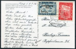 1957 Austria Kleinwalsertal Postcard. Lawinenopfer Opt. Sondertarif Riezlern - Hamburg - 1945-.... 2nd Republic