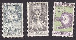 Czechoslovakia, Scott #905-906, 915, Used, Equality And Peace, Peace, Turbine, Issued 1959