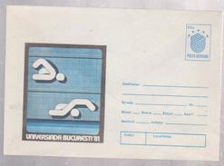 SWIMMING , WORLD UNIVERSITY GAMES, COVER STATIONERY YEAR 1981  ROMANIA