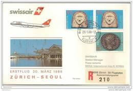 CH - 15989 - Enveloppe 1er Vol Swissair Zurich-Seoul 1986 Par B747 - Airplanes