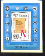 MNH BHUTAN # 505 : SOUVENIR SHEET UNITED NATIONS ;  HUMAN RIGHTS - Bhutan