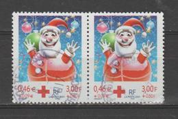 FRANCE / 2001 / Y&T N° 3436a : Croix-Rouge (Boule Père Noël) De Carnet X 2 En Paire - Choisi - Cachet Rond - Frankreich