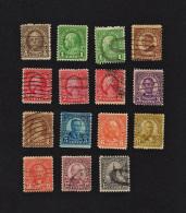 B1983 1922-25 USA 15 Stamps ( Sc# 151,152,152,153,154,154,154,156,556,557,558,560,561,564,566 ) C&H - United States