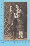 Mariage  - Homme Femme Bouquet, Carte Photo, 1926-1940, Papier Azo - Post Card Carte Postale Photo  2 Scans - Photographie