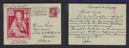 Belgium, 1 Fr Postal Card  Advert For Memling Exhibition, Used 1939, BRUXELLES > Dordrecht, Holland - Advertising