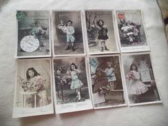 LOT DE 8 ILLUSTRATIONS FANTAISIES...ENFANTS BONNE ANNEE - 5 - 99 Postcards