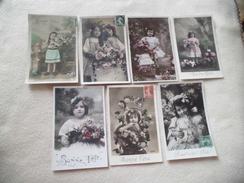 LOT DE 7 ILLUSTRATIONS FANTAISIES...PETITES FILLES BONNE FETE - 5 - 99 Postcards