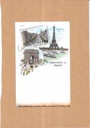 PARIS - 75 - CPA DOS SIMPLE COLORISEE - Souvenir De Paris - MULTI-VUES  - 3 Vues - LYO87 - - France