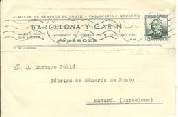 TARJETA COMERCIAL 1936 ZARAGOZA - 1931-Today: 2nd Rep - ... Juan Carlos I