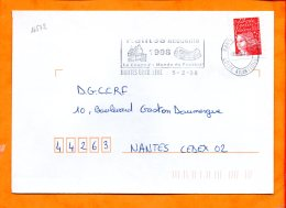 LOIRE-ATL., Nantes, Flamme SCOTEM N° 16572, Nantes Accueille  La Coupe Du Monde De Football 1998 - Marcofilie (Brieven)