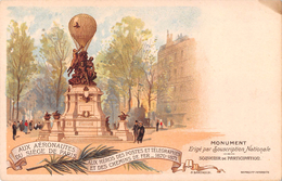 * PARIS (75) Aux Aéronautes Du Siège De Paris.Monument érigé Par BARTHOLDI. Cachet Aéro-Club De France Au Dos 1900 - Other Monuments