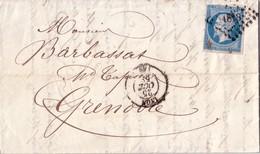 RHONE - LYON - EMPIRE N°14 - VARIETE POSTE F - LE 25 OCTOBRE 1858 - LETTRE AVEC TEXTE ET SIGNATURE. - 1849-1876: Classic Period