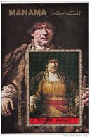 """Bf. 199A Manama 1972  """" Autoritratto Con Bastone """"  Quadro Dipinto Di Rembrandt Preobliterato Barocco Paintings Tableaux - Rembrandt"""