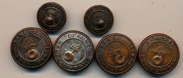 Lot De 6 Boutons De La Garde Nationale - 4 Gros Et 2 Petits - Grenade Liberté Ordre Public - Fabriquant Au Verso Riche - Buttons